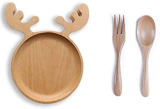 مجموعة أدوات المائدة الخشبية، لوحة خشبية على شكل غزلان مع شوكة وملعقة خشبية، طبق خشبي لطيف على شكل حيوان للإفطار، طبق تقدي...