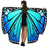 Halloween/Party Prop Soft Fabric Butterfly Wings Shawl Fairy Ladies Nymph Pixie Costume Accessory (168x135CM, Blue) …