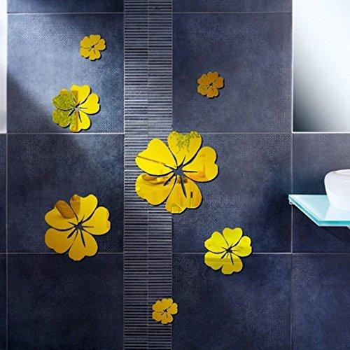 Allinbuy 5pcs Flores 3D Etiqueta engomada de la Pared TV Fondo Decoración del hogar DIY Espejo Etiquetas DE Pared