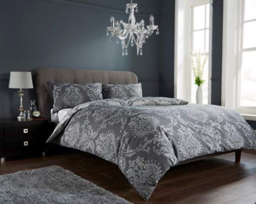 EHD Royal Damask Design Luxurious Duvet Cover Sets Quilt Cover Sets Fully Reversible Bedding Sets LW (Black, King Size)