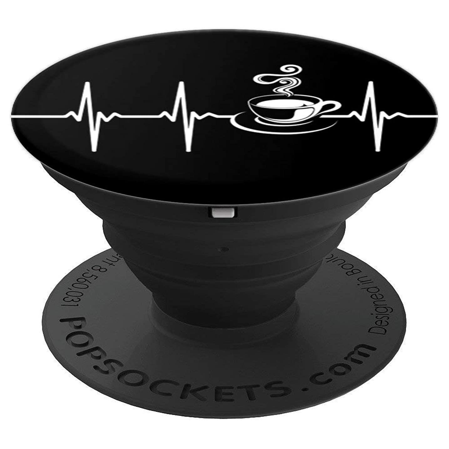 Coffee Lover Cup of Coffee Heartbeat EKG - PopSockets Grip and Stand for Phones and Tablets