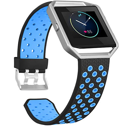 SKYLET Compatible with Fitbit Blaze Bands for Men Women, Soft Silicone Breathable Replacement Sport Wristbands with Frames Compatible with Fitbit Blaze Smart Watch Men Women Black