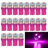 EverBright 20-Pack 194 Led Bulb Pink T10 194 168 W5W 2825 LED Bulb for Car Interior Lights Dome Map Trunk Light License Plate Light Lamp, 5050 5SMD, DC 12V