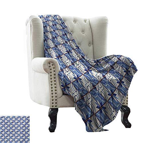 BelleAckerman Manta de Almacenamiento marroquí, composición geométrica con Cuadros, Azulejos en ángulo, líneas de Flores, Color Azul pálido Crema para Cama y sofá de fácil Cuidado 127 x 152 cm