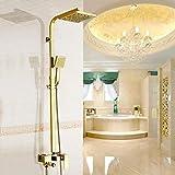 Grifos de ducha Bañera grifos de latón dorado Grifería de montaje en la pared sola manija del grifo de la ducha de mano grifo de grifo de la ducha Sistema de Ducha