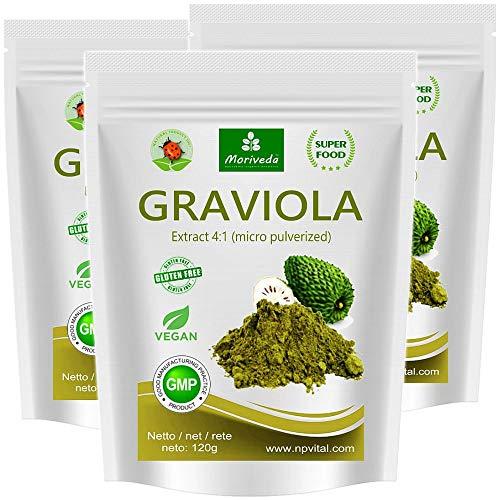 Graviola Pulver 360g, hochkonzentriertes Fruchtextrakt 4:1, Qualitätsprodukt von MoriVeda – Sauersack (3x120g)