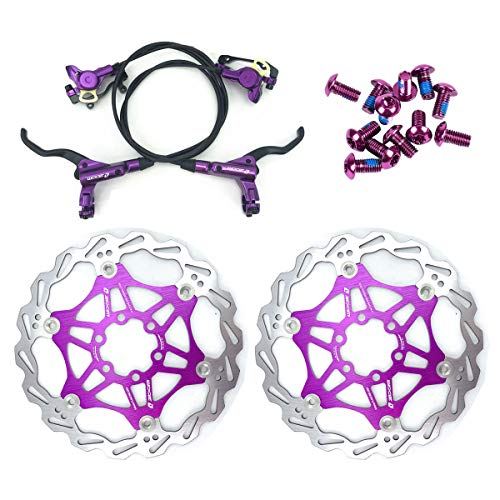 AKANTOR Zoom Hydraulic Disc Brakes Mountain Bike Sets MTB Front & Rear Set with Floating Disc Rotor 160mm & Color Bolts (Purple)