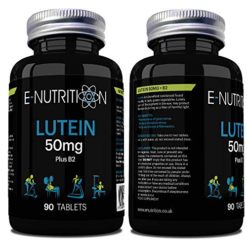 Lutein 50mg Tablets not Capsules | with Vitamin B2 | Eye Supplement | Made in UK | E-Nutrition
