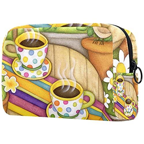 Kompakte Kosmetiktasche Schminktasche Geldbörse, Kaffee dekorativ frühlingsmorgen getränk Tasse Blume Vogel