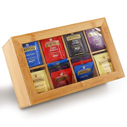 Tea Box Storage Bamboo, Nature Tea Bag Organizer 8 Compartments Taller Size Holds 120+ Standing or Flat Tea Bags for Coffee, Tea, Sugar Packets, Sweeteners, Creamers, Drink Pods, and More