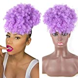 Aisaide Afro Puff Drawstring Ponytail Extension Short Afro Curly Ponytail with Curly Bangs High Puff with Bangs Updo Synthetic Afro Bun Chignon Hairpieces with Two Clips Purple Pineapple Puff