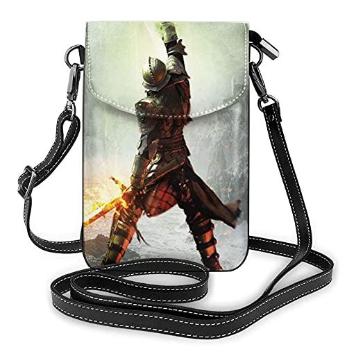 XCNGG Monedero pequeño para teléfono celular Dragon Age Inquisition Crossbody Bags for Women's Crossbody Handbags Cell Phone Purse Waterproof Leather Handbags Small Wallet