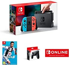 Nintendo Switch Neon Red/Blue with Fifa 19 (cartridge) pro-controller and 1 year Nintendo Service Online Membership [Impor...