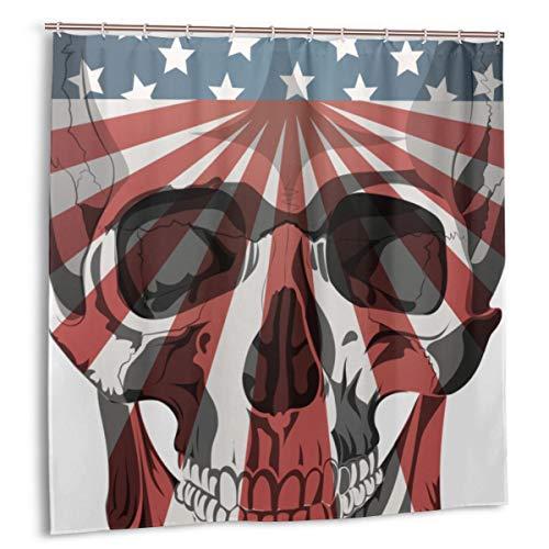 Blived Cortina de baño,Impermeable,Esqueleto Humano Huesos Esqueleto Muerto anatomía Bandera USA,Cortina de Ducha de con Ganchos 180cmx180cm