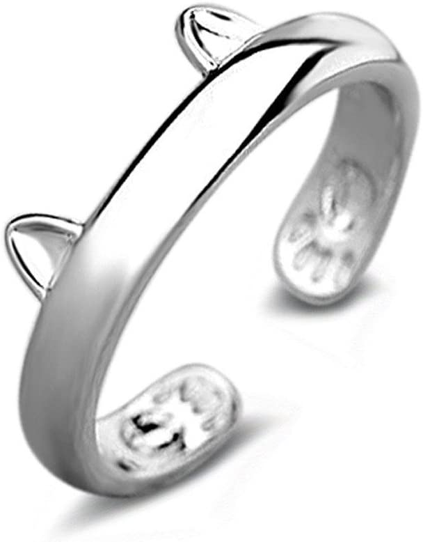 WoCoo Fixed price for sale Ring Silver Plated Cat Ears Max 51% OFF Thumb Val Adjustable