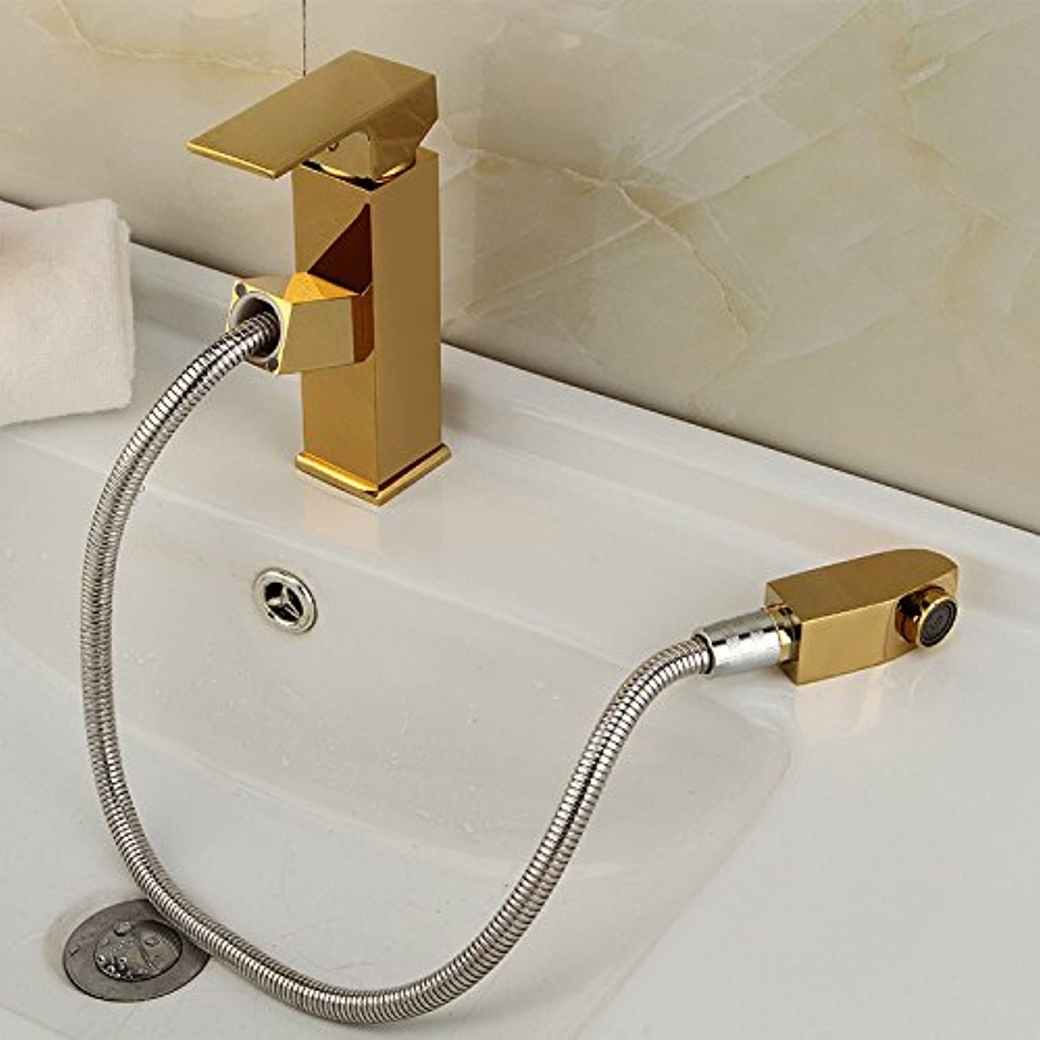 redOOY Faucet Taps Full Copper Belt Nozzle Telescopic Pull-Type Faucet Hot And Cold Basin Wash Head Special Faucet, gold