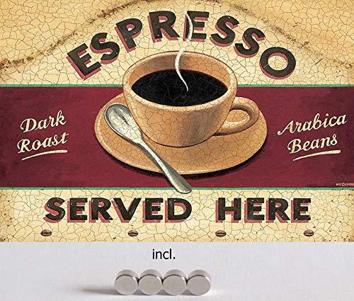 Metalen bord 20 x 30 cm gebogen, incl. 4 magneten espresso koffie Cafe Bar Coffee Arabica Bonen Deco Gift Shield Bistro