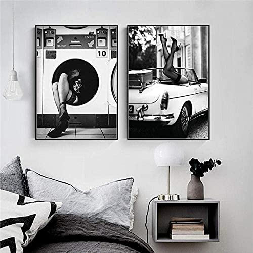 Cuadros de Pared 2 Piezas 50x70cm sin Marco Moda Mujer Lienzo Pintura Nordic Vintage Sexy Lady Wall Art Póster e Impresiones Sala de Estar Moderna Decoración para el hogar