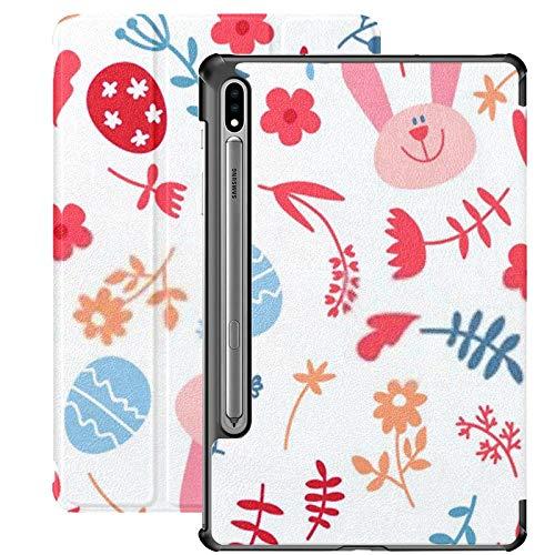 Funda para Galaxy Tab S7 Funda Delgada y Liviana con Soporte para Tableta Samsung Galaxy Tab S7 de 11 Pulgadas Sm-t870 Sm-t875 Sm-t878 2020 Versión, Conejos de Pascua sin Costuras con Fondo de coneji