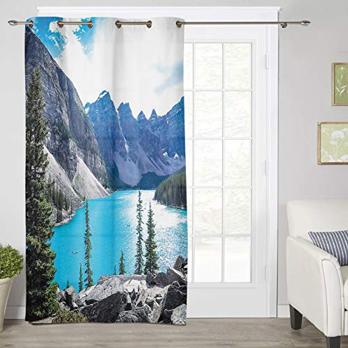 Curtain 45 inches Long for Living Room- Moraine Lake Banff Canada National Park Window Curtain Drapes Grommet Panel for Bedroom/Office/Nursery/Farmhouse, 1 Panel
