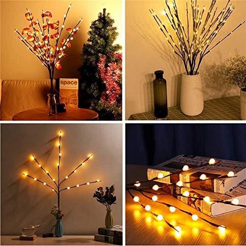 ZLININ Luz LED de hadas 20 LED con pilas plegable redonda ramas esféricas de hadas cadena Navidad familia fiesta decoración LED