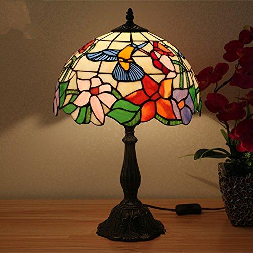 Tiffany Stil Glasmalerei Lampe handgefertigt klassischen antiken Bienen Vogel Nachttisch Beleuchtung 12