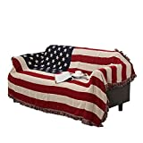 UNIGARDEN 51' X 71' Inches Multi-Function Throw Blanket Double Sided Cotton Woven Couch Throw (Us Flag Tapestry, 51'X71')