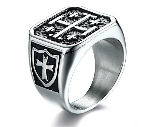 VNOX Herren Edelstahl Jerusalem Kreuzritter Kreuz Ring Christus Signet Band,Silber Schwarz