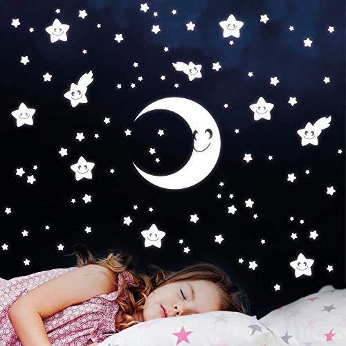 Wandtattoo-Loft Lumineux 75 Pièce Croissant Étoiles avec Visages Auto-Adhésif Leuchtsticker Fluorescent