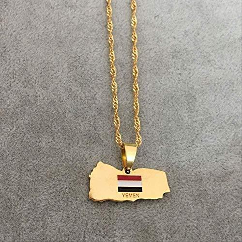 ZJJLWL Co.,ltd Halskette Jemen Karte Nationalflagge Edelstahl Anhänger Halskette Landkarte Schmuck
