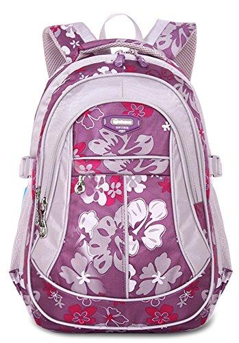 HASAGEI Schulranzen Schulrucksäcke Schultasche Daypacks Backpack für Kinder Mädchen Jungen Jugendliche Schulrucksäcke mit Gurt M/S 45 * 30 * 16/41 * 27 * 13 cm 22/15 Liters (Purpur, M)