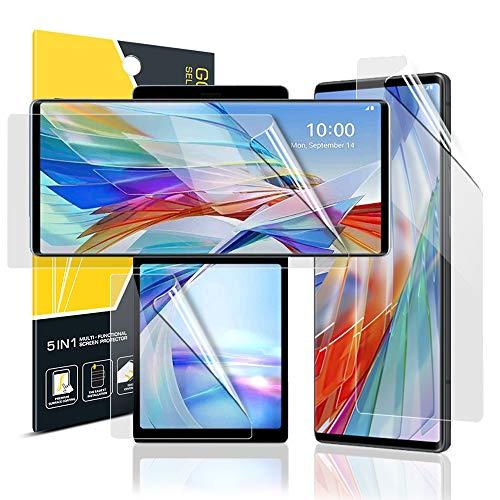 GOBUKEE [2+1] für LG Wing 5G Bildschirmschutzfolie [2 TPU-Folie Hauptbildschirmschutz + 1 PET-Folie kleiner Schutz] [volle Abdeckung] [Selbstheilend] [Fingerabdruck-Unterstützung] für LG Wing 5G