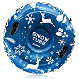 [2021 Newest] Snow Tube, Super Big 47 Inch Inflatable Snow Sled for Kids and Adults, Best Gift for Winter Sport Fun, Christmas Snow Tube, Heavy Duty Made by Thickening Material of 0.6mm