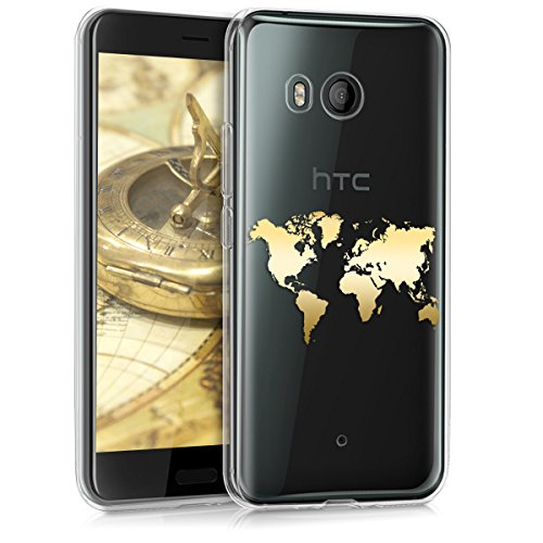 kwmobile HTC U11 Hülle - Handyhülle für HTC U11 - Handy Case in Travel Umriss Design Gold Transparent