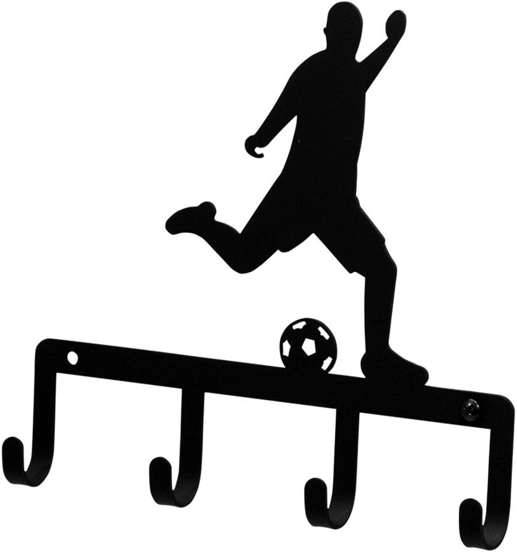 Iron Soccer Player Sports Key Rack - Black Metal