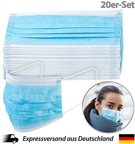 newgen medicals Atemschutz: 20er-Set Medizinische Mund- & Nasen-Masken, 3-lagig, unsterilisiert (Mundschutz-Masken 3-lagig)