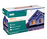 ANSIO 500 LED Blu Tenda luminosa, Luci natalizie per interni e esterni, 8 modalità luce/timer, Memoria, trasformatore incluso, 17,4m lunghezza-Cavo Bianco[Classe di efficienza energetica A+++]