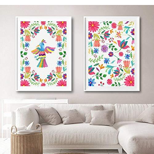 LLXHG Lámina Mexicana Otomi Cartel Mexicano Bordado Arte Lienzo Pintura Patrón Colorido Arte Popular Mexicano Imagen Home Room Decor-40X50Cmx2Pcs Sin Marco