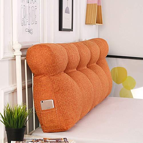 woyaochudan Cojín triangular de algodón para lectura, cojín para cama doble, cabecero de cama, respaldo para silla de oficina, cojín lumbar, naranja, 90 cm