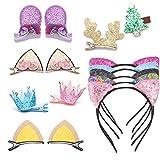 Set von 15 Kinderhaaraccessoires Glitzer Katzenohren Haarreifen Handband niedliche Haarspangen für Baby Mädchen Kinder Kleinkind