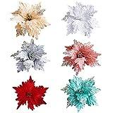 RB - Adornos para árbol de Navidad con Purpurina (6 Unidades), Blanco, Verde, Plateado, Rojo, Rosa, Dorado, 9.8X 7.8 Inch