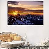 KWzEQ Imprimir en Lienzo Sunrise Snow Mountain Landscape Wall Art Imagen Decorativa decoración del hogar Sala de Estar sofá decoración de la pared70x105cmPintura sin Marco