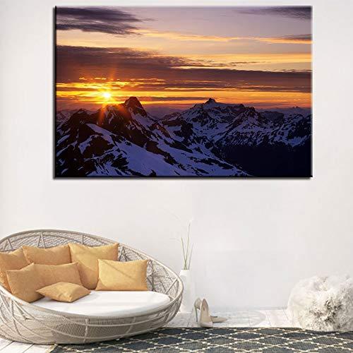 zhuziji Kein RahmenModerne Hauptdekoration Bilder für das Wohnzimmer Sonnenaufgang Schnee Berg Landschaft Wandkunst Poster gemalt auf der50x75cm
