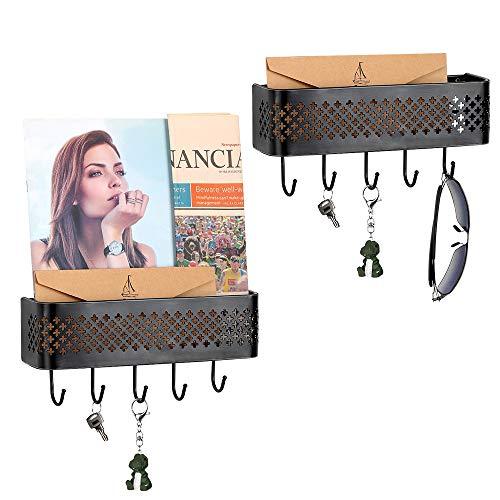 Wall Key Holder Mail Holder Wall Mounted Basket Organizer with Key Hooks Metal Mail Sorter Hanging Basket Box Set of 2 Decorative Storage Rack Shelf for Entryway Cabinet, Black