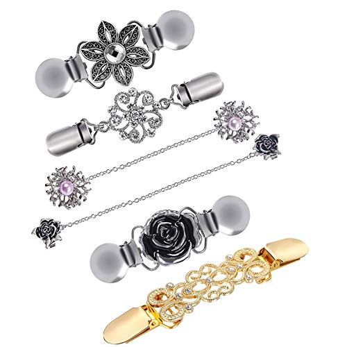 Jewelry Set For Women, 6Pcs Vintage Flowers Pattern Sweater Shawl Cardigan Collar Clips Brooch Pin