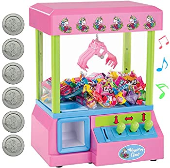 Bundaloo Unicorn Claw Machine Arcade Game and Candy Dispenser for Small Prizes Toys and Treats Plays Original Arcade Music Sounds Cool Mini Vending Machine