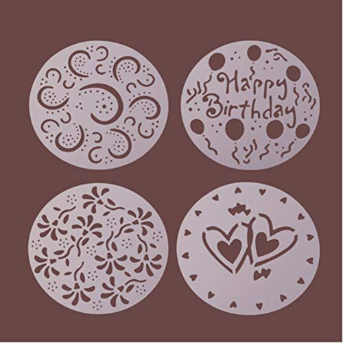 SJYM 4 stks/partij Plastic Cake Stencils Bloem Spray Stencils Cakevorm Decoreren Bakkerij Gereedschap DIY Mold Fondant Template, 4 STKS