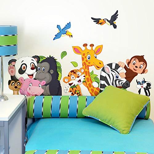 R00150 Adhesivos de Pared Panda Gorila Jirafa Cebra Decoración Dormitorio Infantil Niño - Papel Pintado Adhesivo Efecto Tela