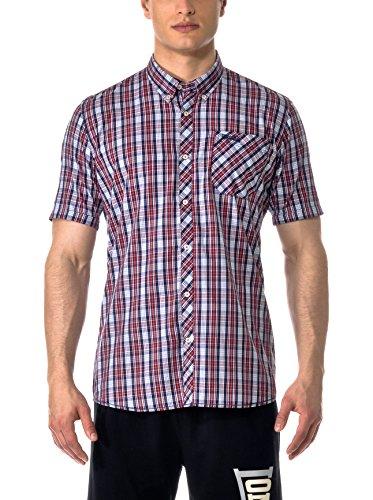 Lonsdale Herren Langarmshirt Hemd Slim Fit Shirt Ronnie Short Sleeve blau (marineblau/rot/weiss) Small