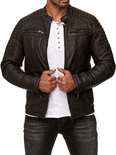 Redbridge Herren Jacke Übergangsjacke Biker Lederjacke Echtleder Kunstleder Baumwolle mit gesteppten Bereichen (S, Braun - Echtleder)